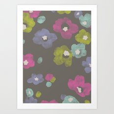 Watercolor Blooms - in Charcoal Art Print