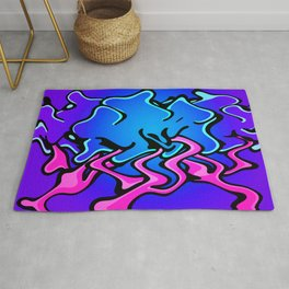 Group of Wavy Cartoon Cloud Trees Begin to Move Against a Gradient Background Rug