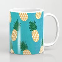 pineapples Mugs featuring Pineapples  by Ashley Hillman