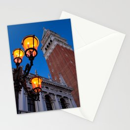 Morning at San Marco square. Campanile San Marco, Biblioteca Nazionale Marciana. Stationery Cards