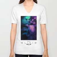 jellyfish V-neck T-shirts featuring Jellyfish by riz lau