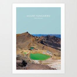 Mount Tongariro, New Zealand Travel Artwork Art Print