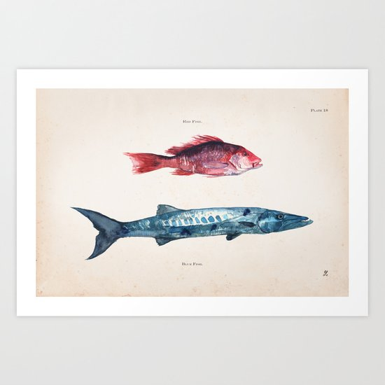 Red Fish Blue Fish Art Print