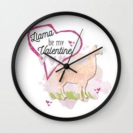 Llama Be My Valentine? Wall Clock