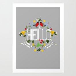 Hello blomster Art Print