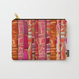 NUMBER 195 orange pink red pattern Carry-All Pouch