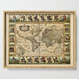 1653 Vintage Nova Totius Terrarum Old World Map by Claus Visscher Serving Tray