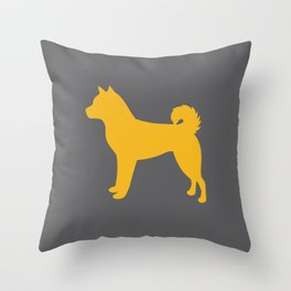 Shiba Inu (on Grey) Throw Pillow