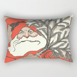 Christmas Pudding And Vintage Santa Vector Rectangular Pillow