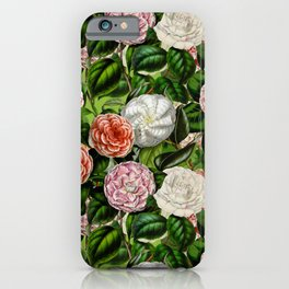 Vintage & Shabby Chic Green Dark Floral Camellia  Flowers Watercolor Pattern iPhone Case