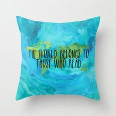 The World Belongs to Those Who Read - Watercolour Throw Pillow