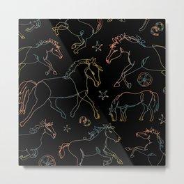 Galloping Horses, Rainbow Gradient on Black Metal Print