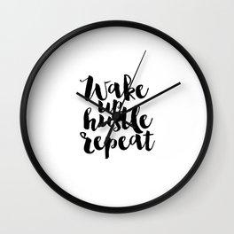 Morning Print,Dorm Room,Positive Art Hustle,Printable Poster,Inspirational Quote,Hustle Hard Girl Wall Clock