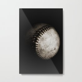 Battered Baseball in Black and White Metal Print