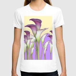 WHITE-MAROON CALLA LILIES PURPLE VIOLET ART DESIGN T-shirt