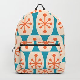 Mid Century Modern Atomic Fusion Pattern 211 Orange and Turquoise Backpack