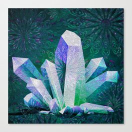 Crystal Mandala Fireworks Canvas Print