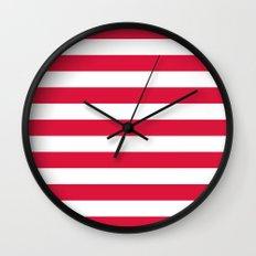 Horizontal Stripes (Crimson/White) Wall Clock