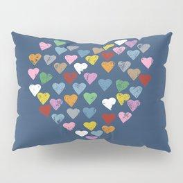 Distressed Hearts Heart Navy Pillow Sham