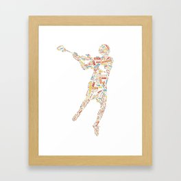 Retro Lacrosse Player Word cloud Print Gift For Lacrosse fan product Framed Art Print