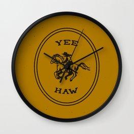Yee Haw in Gold Wall Clock