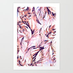 Coral Tropical Palms Art Print