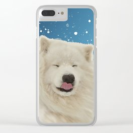Samoyed Funny Face Winter Snow Clear iPhone Case
