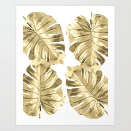 Gold Monstera Leaves on White Art Print