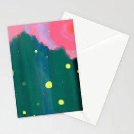 Tall Grass Pink Sky - Fireflies 1 Stationery Cards