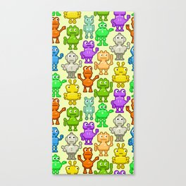 Background with funny robots Canvas Print