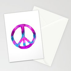 Purple Blue Watercolor Peace Sign Stationery Cards