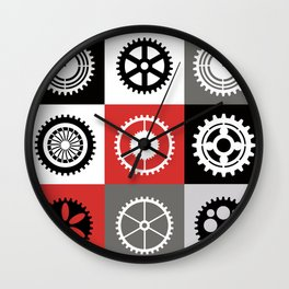 A mosaic consisting of gear of different color Wall Clock