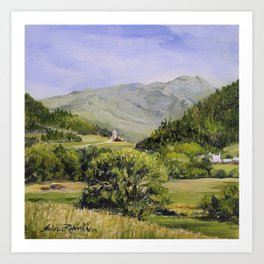 Pastures and Mount Mansfield Oil Landscape Vermont Painting Art Print