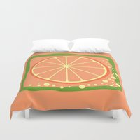 coasters Duvet Covers featuring GRAPEFRUIT by Tanya Pligina