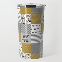 Badger House cheater quilt patchwork wizarding witches and wizards Travel Mug