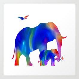 Elephant mom and baby Art Print