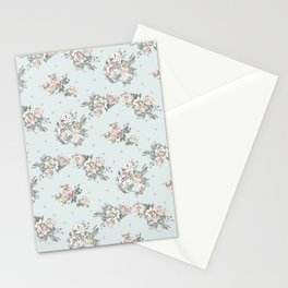 Pastel blue brown pink vintage roses polka dots pattern Stationery Cards