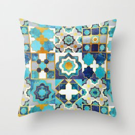 Spanish moroccan tiles inspiration // turquoise blue golden lines Throw Pillow