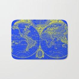 World Map (1775) Blue & Yellow Bath Mat