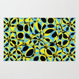 yellow blue circle pattern Rug