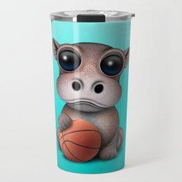Cute Baby Hippo Playing With Basketball Travel Mug