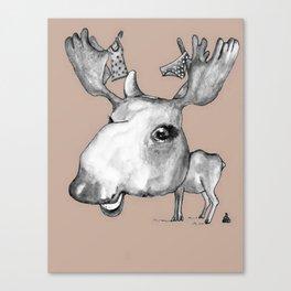 NORDIC ANIMAL - MURIAL THE MOOSE / ORIGINAL DANISH DESIGN bykazandholly  Canvas Print