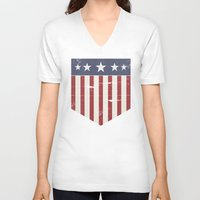 flag V-neck T-shirts featuring Flag by Emma Harckham
