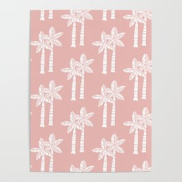 Palm Tree Pattern Dusty Rose Poster