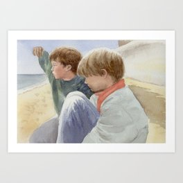Boys on the Beach, watercolour Art Print