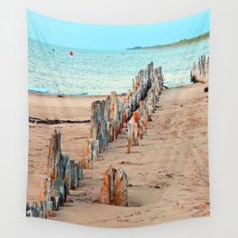 Wharf Remains on the Beach Wall Tapestry