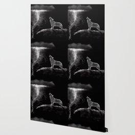 Wolf Lightening Black and White Wallpaper
