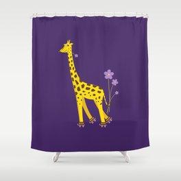 Funny Giraffe Roller Skating Shower Curtain
