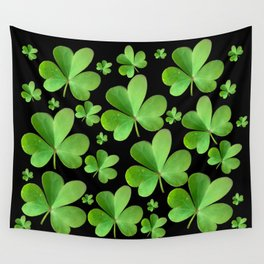 Clovers on Black Wall Tapestry
