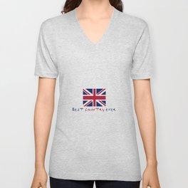flag of uk - Best country ever. Unisex V-Neck
